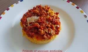 Polenta et saucisse gratinées
