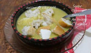 Soupe oignon poireaux au levain et babeurre
