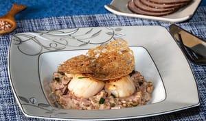Noix de St-Jacques et risotto de sarrasin à l'andouille de Guéméné