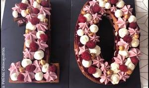 Number cake vanille framboises