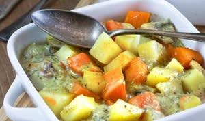 Gratin de patate douce et pommes de terre au Stilton