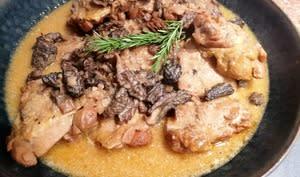 Poulet sauce Monbazillac et morilles