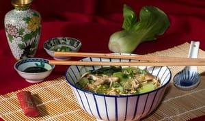 Soupe au chou pak choï aux shiitakés