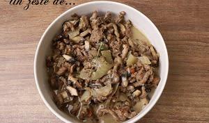 Bœuf aux champignons à la crème de soja