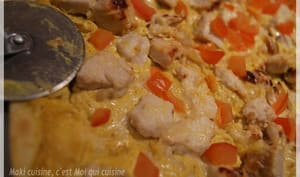 Pizza poulet à la moutarde et au curry