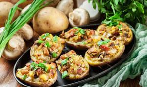 Pommes de terre farcies aux champignons et jambon