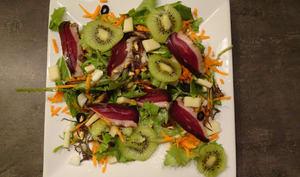 Salade de jeunes pousses aux fruits, fromage et canard séché