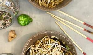 Wok de Nouilles Udon au Gingembre, Sésame au Kimchi, Ail et Combava et Légumes