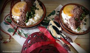 Risotto sucré au thé , pistaches , chocolat et oranges confites