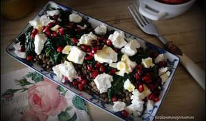 Salade de lentilles, épinards feta et grenade