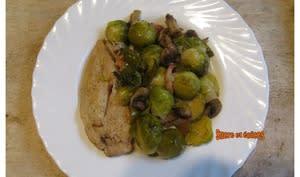 Escalopes de dinde aux champignons et choux de Bruxelles