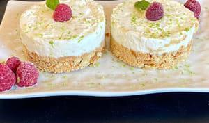Cheesecake citron vert, framboises