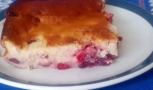 Gâteau aux petits suisses et fromage blanc aux cranberries