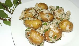 Salade de pommes de terre grenailles au thon et au plantain