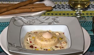 Flans de foie gras et velouté de topinambours