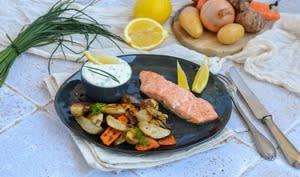 Saumon et légumes hiver rôtis four