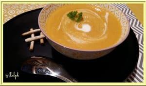 Velouté de carottes, lentilles, et potiron