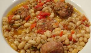 Epeautre et haricots aux boulettes de viande