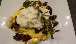Morue à la crème d'amandes avec polenta