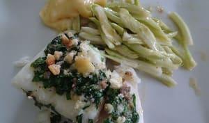 Skrei à la mayonnaise à l'ail et salade de puntarelle