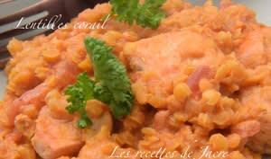 Lentilles corail au poulet à l'indienne