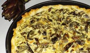 Tarte aux feuilles d'artichauts, saumon fumé et fromage ail et fines herbes