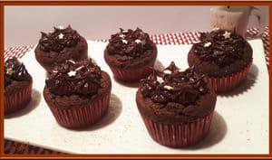 Cupcakes au chocolat et ganache choco-marron