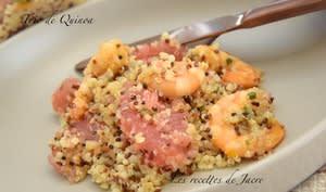 Trio de quinoa aux crevettes laquées