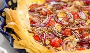 Tarte croustillante ricotta et tomates cerises