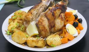 Poulet rôti au four et son torchi de légumes