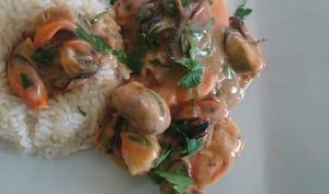Moules aux champignons et riz