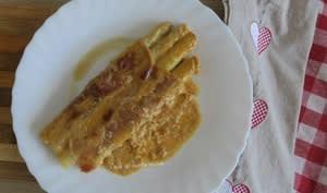 Gratin d'asperges au jambon de Bayonne et parmesan