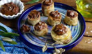 Makis de crêpes chocolat huile d'olive
