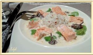 Blanquette de saumon aux fèves
