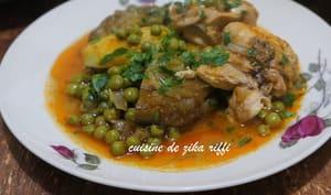 Tajine de petits pois aux artichauts et poulet
