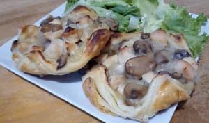 Les paniers feuilletés au poulet et champignons