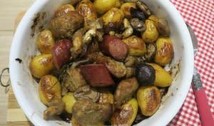 Pommes de terre grenailles à la saucisse au couteau et Diot de Savoie aux champignons