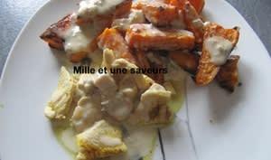 Patates douces rôties sauce gorgonzola