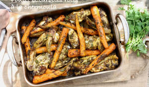 Poulet et carottes rôtis à la chermoula