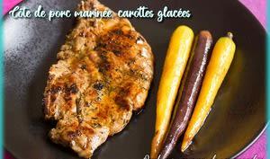 Côte de porc marinée carottes glacées