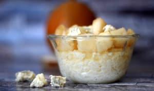 Riz au lait aux poires et gorgonzola