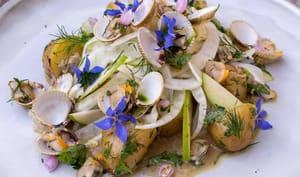 Salade de coques au fenouil, grenailles, pommes Granny Smith et herbes