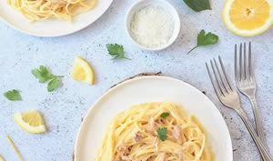 Spaghettis au thon et au citron