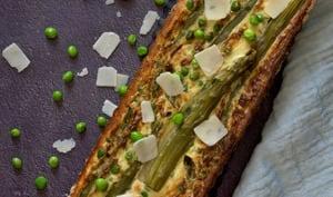 La tarte aux asperges et aux petits pois