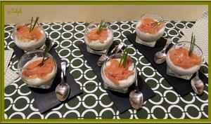Verrines de concombre à la crème et saumon