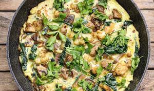 Omelette au chou-fleur et aux champignons
