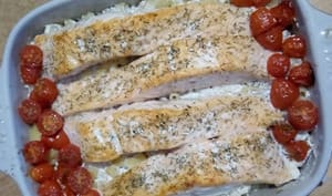 Les pâtes et saumon au four