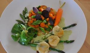 Brochettes de St Jacques et printanière de légumes