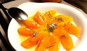 Orange à l'huile d'argan, fleur d'oranger et aneth