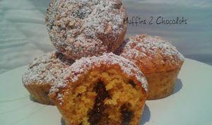 Muffins au 2 chocolats et farine de riz demi-complet
